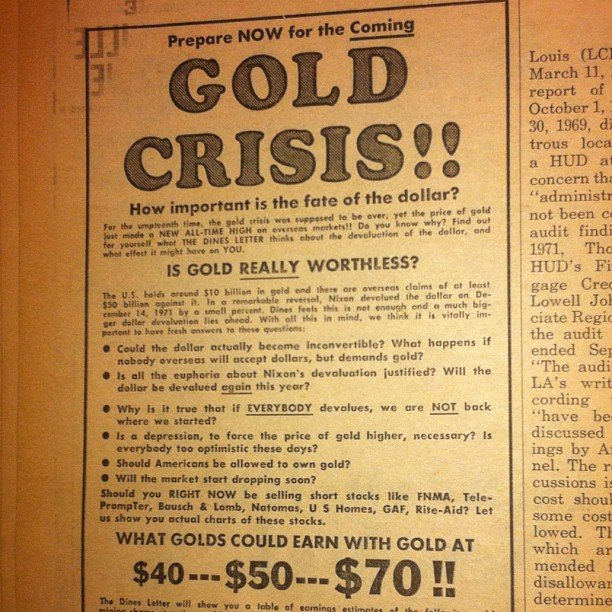 Gold ad from 1973 shows the economy has long been on the verge of