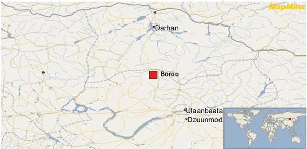 boroo mine centerra gold map mongolia