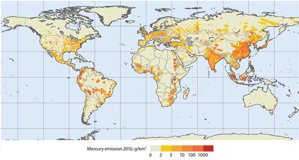 UNEP: Mercury emissions to air in 2010