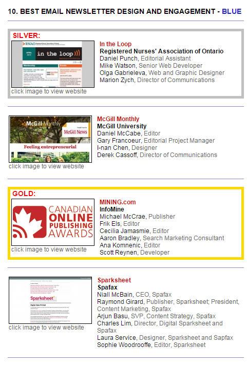 canadian online publishing awards best email winner