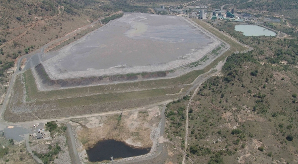 An aerial photograph taken of a tailings storage facility as part of an aerial inspection which forms part of an active monitoring program at the facility