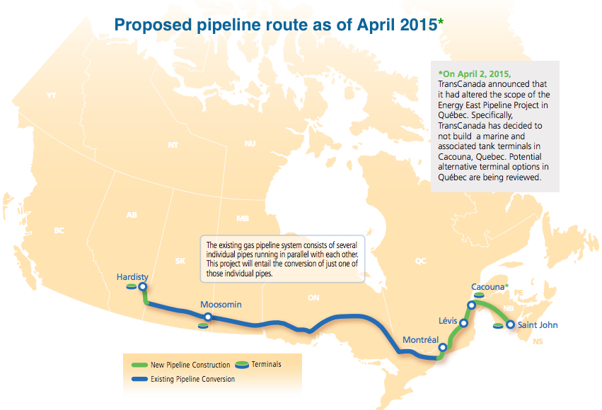 Groups ask Gov't to suspend TransCanada Corp's Energy East pipeline application