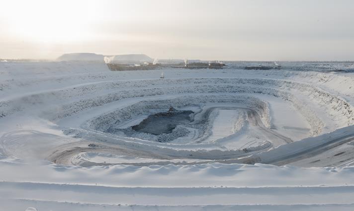 Botuobinskaya mine in first year of production, Yakutia Russia, February 2015. Source ALROSA.