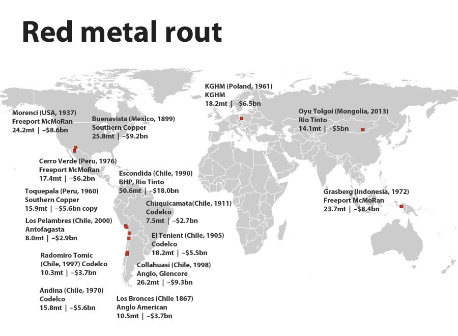 top 15 copper mines map nov 2015 - chile
