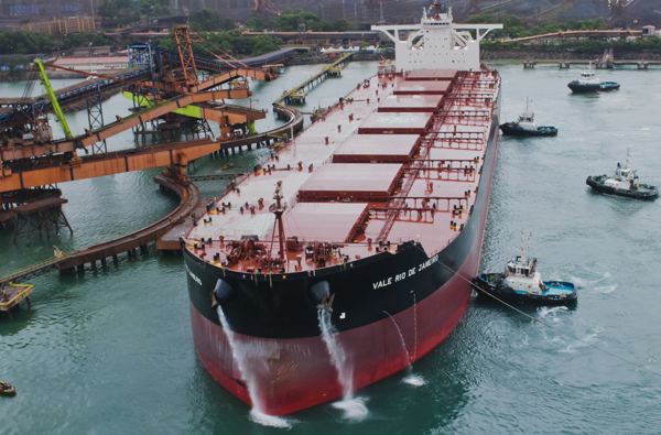 Vale's giant iron ore carriers are the world's largest dry bulk vessels capable of carrying 400,000 tonnes of dead weight