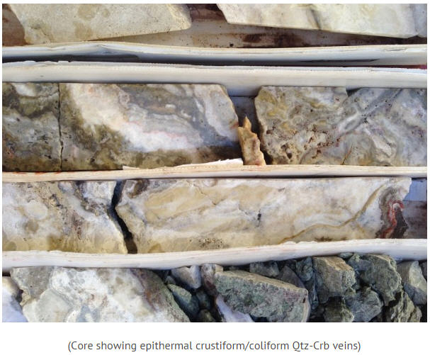 Canarc Resource Corp site trip - core showing epithermal crustiform-coliform Qtz-Crb veins