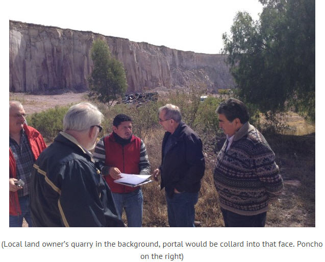 Canarc Resource Corp site trip -local land owner's quarry in the background