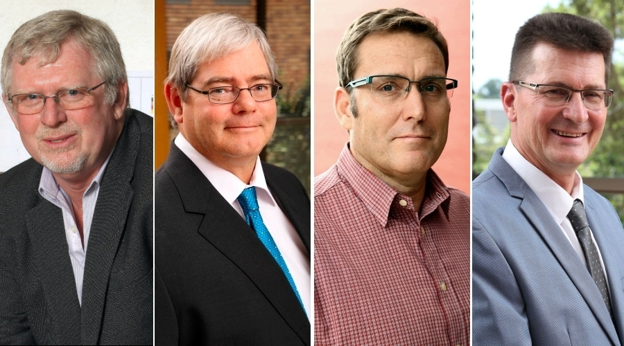Graham Howell, incoming chairman, SRK Consulting SA, William Joughin, new board member, SRK Consulting (SA), Marcin Wertz, partner and head of the mining business unit, SRK Consulting (SA), Adriaan Meintjes, partner and new head of the environmental geotechnical business unit, SRK Consulting