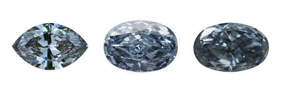 Fancy Blue, Fancy Intense & Fancy Blue Diamonds (Image courtesy of Naturally Colored)