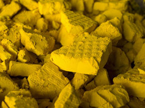 "This is how a common sterotype of uranium as the ""yellow"" metal looks. Source: http://resourceclips.com/"