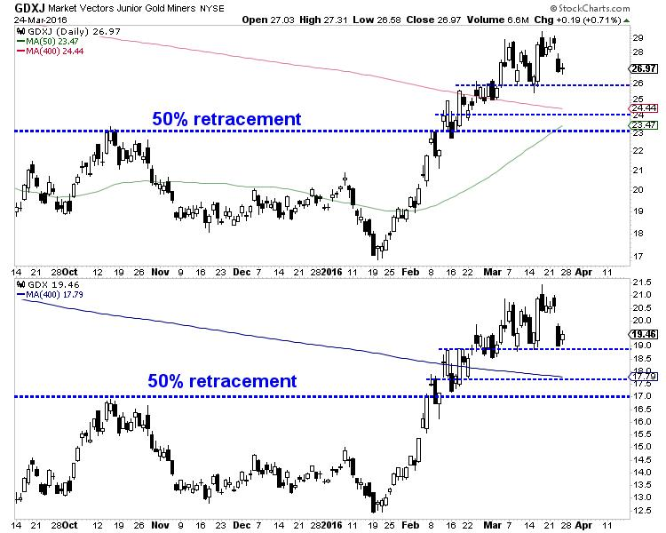 What to watch for in gold and gold stocks - GDXJ Market Vecors Junior Gold Miners Graph