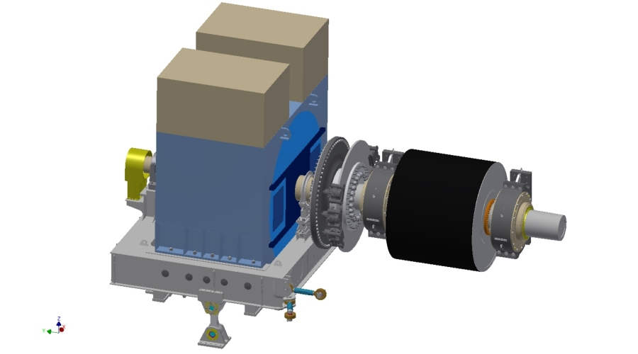 Direct drive assembly with TAKRAF designed motor base frame