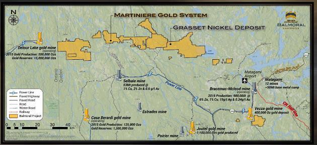 Balmoral location map. Courtesy of Balmoral Resources.