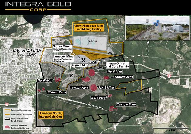 Sigma/Lamaque Map, Courtesy of Integra Gold