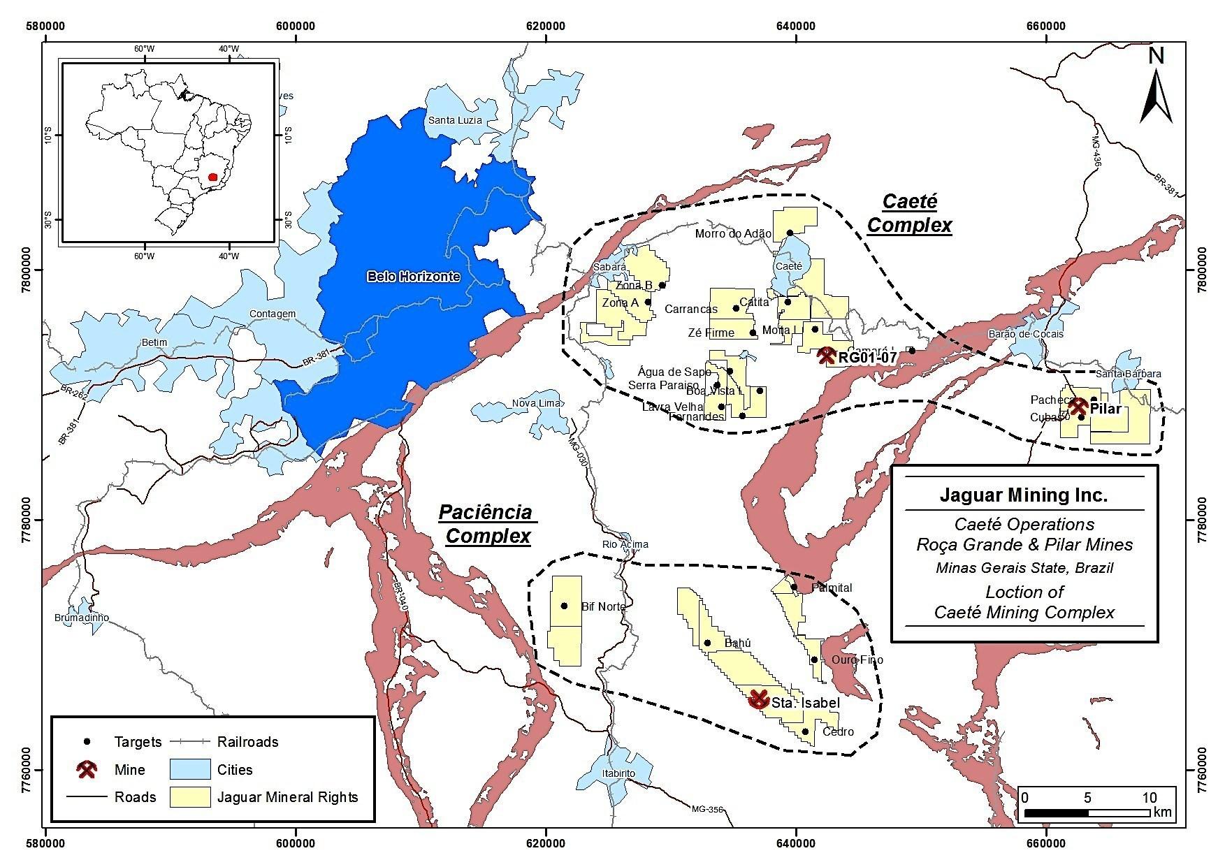 Figure 2 - Caete Complex Location Map (PRNewsFoto/Jaguar Mining Inc.)
