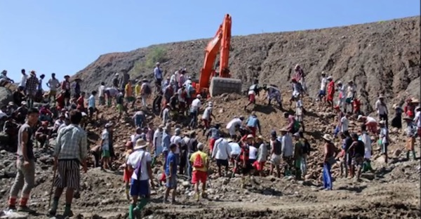 At least 115 people were killed in a similar jade mine collapse, in the same jade mining region of Myanmar, in November 2015. Screenshot of the rescue effort by World News Channel, on Youtube.