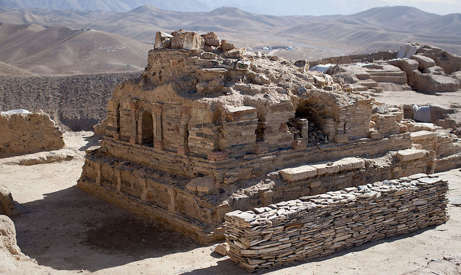A recently excavated Buddhist stupa, or shrine, at Mes Aynak, 35 km south of Kabul. 2011 photo by Jerome Starkey, from Wikimedia Commons.