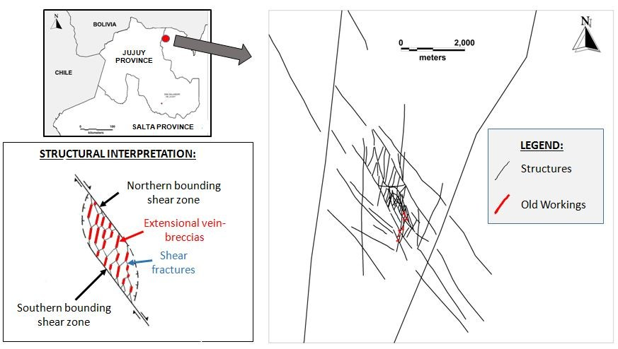 Figure 1. Map of the vein system in which La Niquelina Mine lies, with inset locality map of northern Argentina and a diagram that illustrates the conceptual exploration model for additional mineralized veins in the district. (CNW Group/U3O8 Corp.)