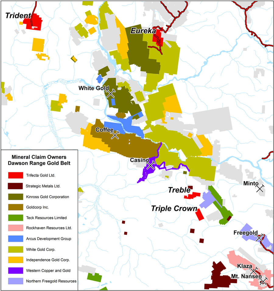 An undervalued mining play in a storied gold district - Trident properties map
