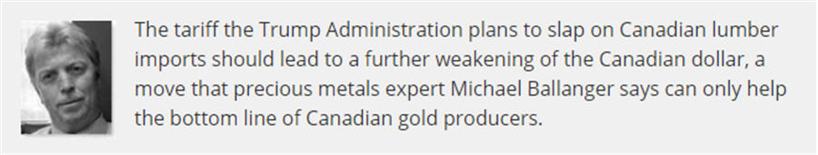 Lumber tariff could boost Canadian gold miners