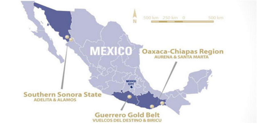 Minaurum gold advancing Alamos Silver - Mexico Map