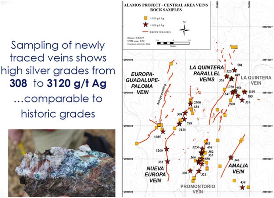 Minaurum - samplings of newly traced viens - map and sample