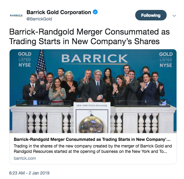 New era for Barrick Gold begins