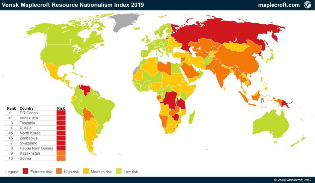 30 countries face higher resource nationalism risk